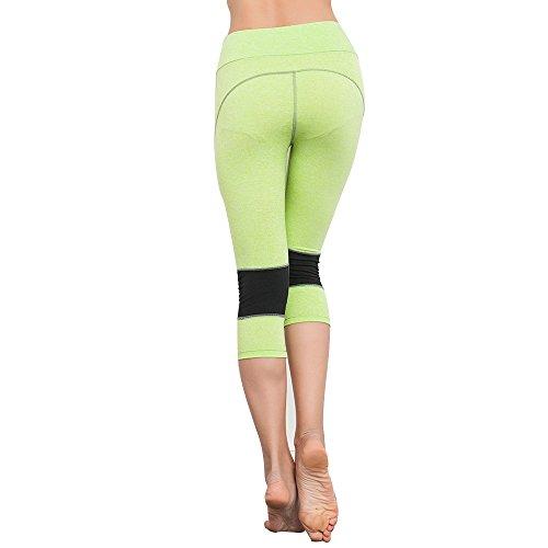 BOZEVON Donna Skinny Sport Elastico Sottili Pantaloni Stretti Atletico Capri Fitness Yoga Leggings Gym Pantaloni Verde