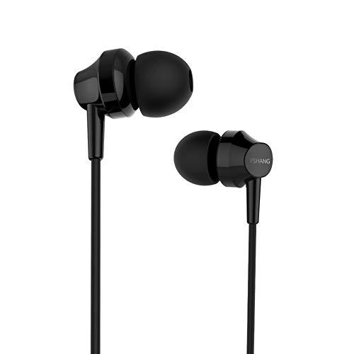 Bainuojia In Ear Kopfhörer, Ear Ohrhörer Metallisches Stereo Headset Earphones mit Ohrstöpseln und Mikrofon für iPhone, Android Smartphones und MP3 Players usw (Black) (Es Player Cd Sony)