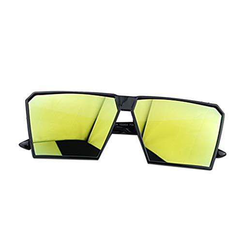 Timlatte Große Rahmen Retro-Sonnenbrille Retro-Platz Brillen Männer Jungen Frauen Mädchen Brillen Street UV400 Helles schwarzes Gold one Size