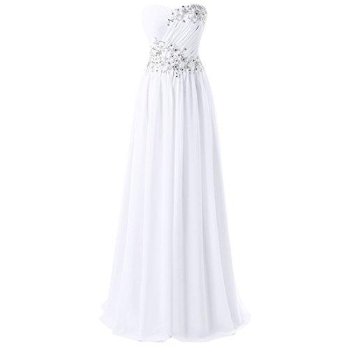 Find Dress Femme Sexy Robe Bustier Formelle Robe de Soirée/Cocktail/Cérémonie pour Mariage Longue au Sol en Mousseline Blanc