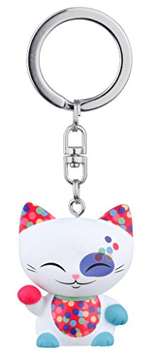 porte-cle-chat-porte-bonheur-mani-the-lucky-cat-blanc-collier-vert-clair