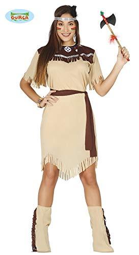 Indianerin Kleid Squaw Karneval Motto Party Kostüm für Damen Wilder Westen beige braun Gr. M - L, - Wilder Westen Damen Kostüm