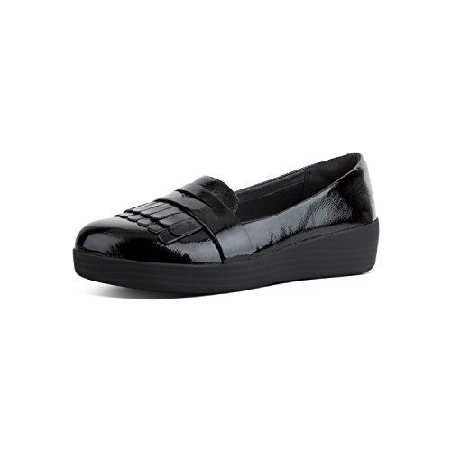 Fit Flop Fringey Tm Sneakerloafer Patent, Mocassini (Loafer) Donna, Nero (Black 001), 39 EU
