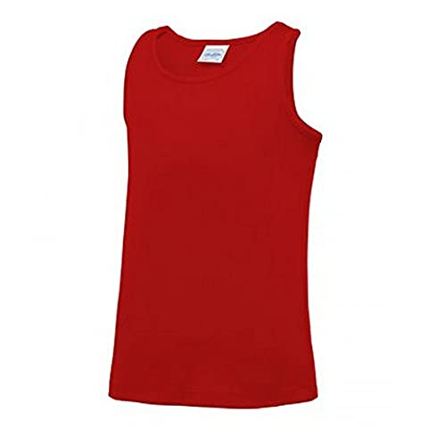 AWDis Childrens/Kids Just Cool Sleeveless Vest Top (3-4 Years) (Fire Red)