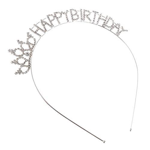Baoblaze Strass '' Happy Birthday '' Krone Diadem Tiara Haarreif Stirnband Haar Dekoration Zum Geburtstag (Tiara Happy Erwachsene Birthday)