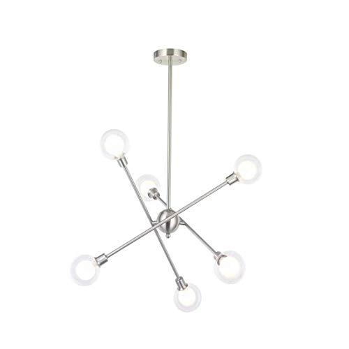 Chandeliersputnik Kronleuchter Beleuchtung Nickel Gebürstet 6 Lichter Deckenleuchte Moderne Glaskugel Anhänger Beleuchtung Für Schlafzimmer Küche Esszimmer 6 Birnen Enthalten -