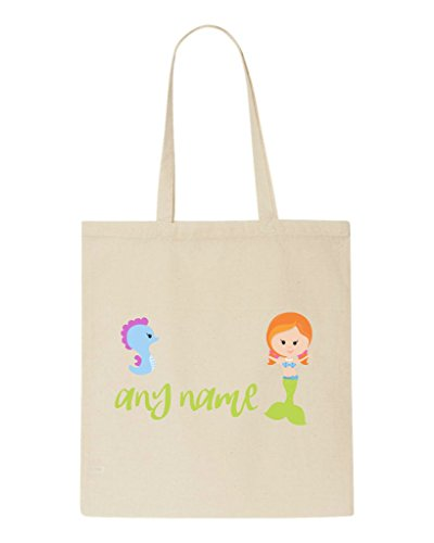 personalised-mermaid-m4-green-tail-with-redhead-seahorse-any-name-tote-bag-shopper