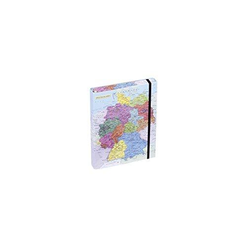 Pagna Heftbox Deutschlandkarte A4 3 Innenklappen, mit Gummizugverschluss Motivdruck laminiert