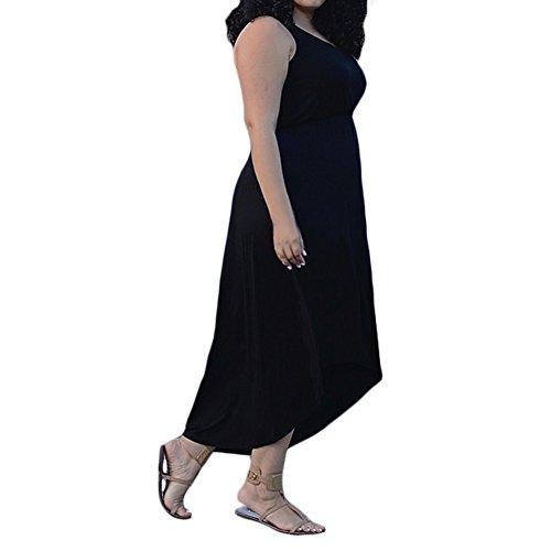 D9Q Frauen Sexy Beiläufige Elegante O-Ansatz Loses Unregelmäßiges Sleeveless Langes Kleid Schwarz