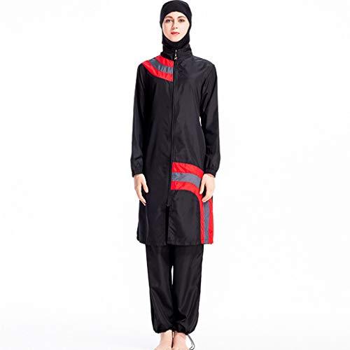 TEBAISE Muslimischen Ganzkörper-Badeanzüge Frauen Muslim Bescheidene Badebekleidung Islamische Bademode mit Hijab Damen Burkini UV Schutz Anzug Zurückhaltenden Swimwear Abnehmbarer Für Frauen