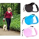 #6: Nylon Retractable Small Dog Leash with Nylon Ribbon Cord, Hand Grip, One Button Brake & Lock for Small Puppy