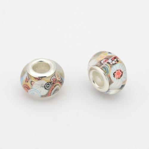 Pandahall - Lot de 50Pcs de Perles Europeennes Acryliques avec Rond Argente, Couleur Mixte Diameter:14mm Trou: 5mm mixte 9