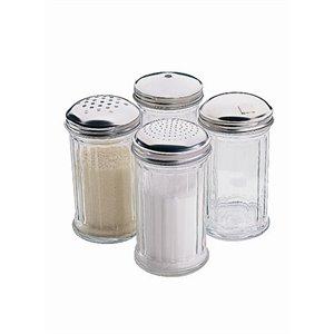 Sucrier avec bec verseur rabattable sur le côté 140 x 70 mm Récipient en verre et acier inoxydable
