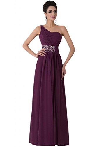 Sunvary Elegant 2015 Ein-Traeger Steine Paillette Chiffon Falte Abendkleid Lang Ballkleider Traube