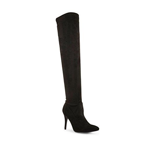 Damen Schwarz über dem Knie High Reißverschluss Up Stiletto Heel Boots Schuhe schwarze Velourslederoptik