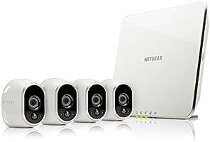 Arlo - Smart Caméra - Pack de 4 - Kit de Surveillance 100% sans Fil , HD, Vision Nocturne, Etanches Intérieur/Extérieur, Fixations Aimantées Fournies l VMS3430-100EUS