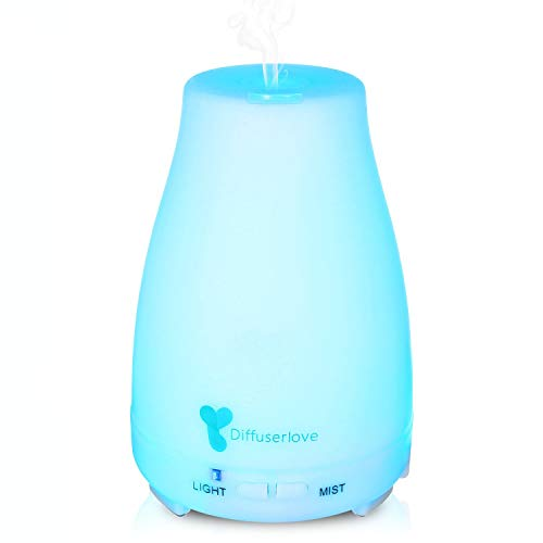 Diffuserlove 200 ml Aroma Diffuser Ultrasonic Humidifier Portable Oil Diffuser Cool Mist Humidifier with 7 Colours LED and Auto Shut Off Function, Perfect for SPA, Massage, Yoga, Home (Ein Man Baby Wie)