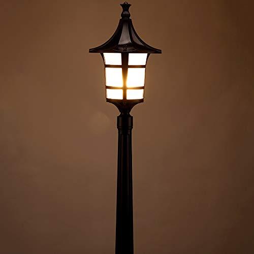 Schwarzes Aluminiumrasen-Laternen amerikanisches Bauernhaus-Straßenlaternen-Landhaus-im Freien imprägniern Hof-Beleuchtungs-Befestigung dekoratives E27 Glasgarten-Terrassen-Bahn-hohes Pole-Nachtlicht -