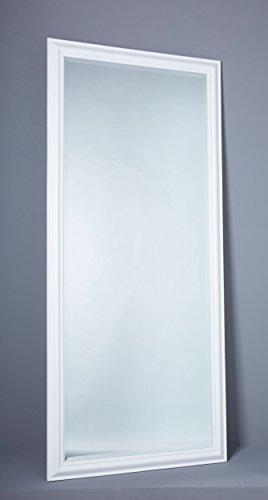 Wandspiegel Spiegel Flurspiegel 180 x 80 cm weiß schlichter Landhaus-Stil mit Facettenschliff