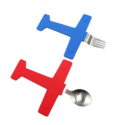FUBULECY 2Pièce / Set en Acier Inoxydable Creative Airplane Vaisselle de Table pour Enfants Alimentation Fourchette cuillère Set Vaisselle en Silicone (Color : Silver)