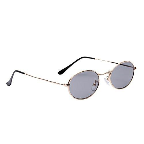 MagiDeal Herren Damen Vintage kleine ovale Sonnenbrille Polarisierte Linsen Metall Gestell...