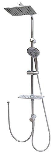Duschset Brauseset Duschstange 100cm Duschsystem Duscharmatur mit 24x19cm Regendusche Überkopfbrause Seifenschale variable Halter -90cm in Chrom