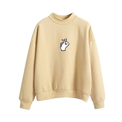 CixNy Sweater Damen Sweatshirt Kleiner Hoher Kragen Langarm T-Shirt O-Hals Gedruckt Finger Love Bluse Tops Pullover Tunika Weste (W-Gelb, L)