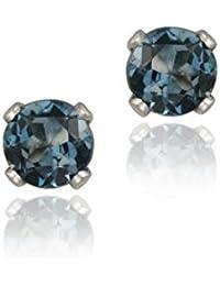 Boucles d'oreilles en argent sterling et goujons en topaze bleue, de Londres 1/4 carat, 3mm