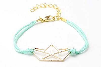 Bracelet bateau origami doré bleu femme cadeau fête des mères
