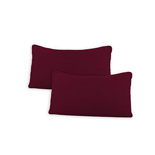 SHC Kissenbezug Doppelpack 40x60 cm in Bordeaux/weinrot als Deco Kissen Zierkissen Couchkissen Sofakissen oder Kopfkissenbezug mit Reißverschluss aus 100% Baumwolle