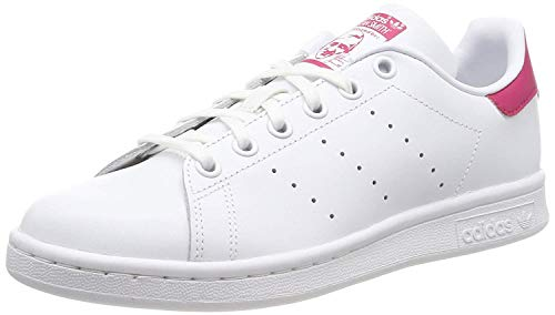 adidas Originals Adidas Stan Smith J B32703, Baskets Fille, Blanc (Footwear White/Bold Pink), 38 2/3 EU