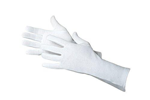 Jah Blanco:Tex 3101 Baumwollhandschuh 12 Paar oekotex mittelschwer 35 cm lang weiß Gr. 8 - Weiße Baumwoll-arbeitshandschuhe