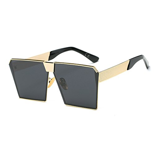 AMZTM Platz Verspiegelt Linsen überdimensioniert Polarisiert Orange Metall Sonnenbrille für Damen und Herren (schwarz grau, 63)
