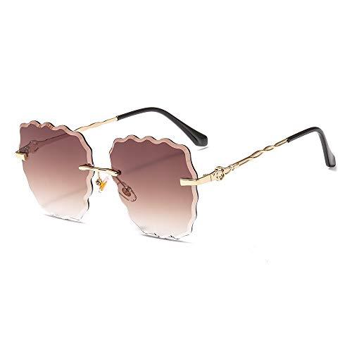 Sonnenbrille Mode Frameless Sonnenbrille Metall Ripple Trimmen Sonnenbrille Polygon Wilde Brillen für Frauen, Golden Frame Progressive Tea