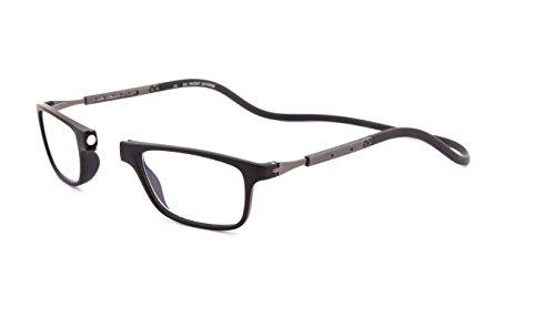 Neu Slastik Magnetisch Clic Stil Lesebrille Rahmen Jabba 001 mit weichem Behälter, Verstellbare Bügel & Antireflektierende Brillengläser Dtr +2.0