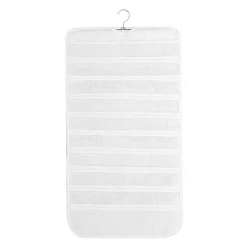 Glasdekoration Hängende Schmuckorganisatoren Tasche 80 Display Klare Transparente Taschen Kleiderschrank Aufbewahrung Doppelseitig für Ohrringe, Halsketten, Armbänder (17 * 34