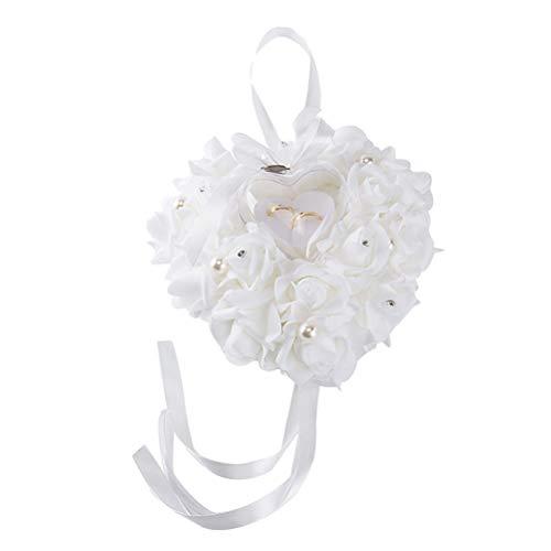 Toyvain Hochzeit Ringkissen Herz Ring Box Rosen Mit Band Perle Verziert Ringkissen Schmuck Fall für Hochzeit Liefert Geschenk (Weiß)