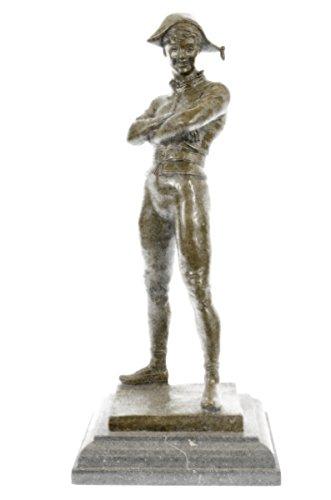 Handmade Bronze Skulptur Bronze Statue Rene De Saint-Marceaux Harlequin Jester Joker mit Masken -Ukste-162- Decor Sammler (Maske Sammler)