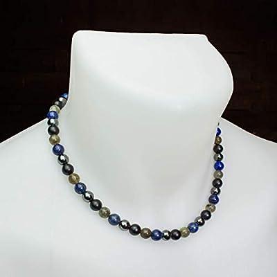 Magnifique Collier Homme/Femme perles Ø 8mm pierre gemme Larvikite Labradorite, Lapis Lazuli, Agate noir mat, Hématite Acier inoxydable Made in France COLLIMIX18