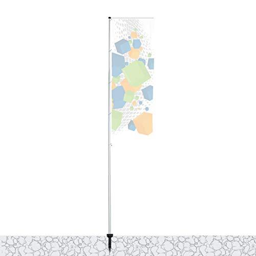 Vispronet Mobiler 5,40 m Fahnenmast mit Ausleger T-Pole® 100 ✓ versch. Bodenelemente ✓ teleskopierbar ✓ inkl. Transporttasche (Einschlaghülse) -