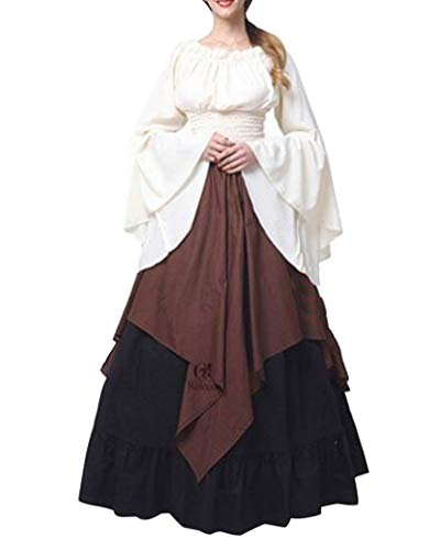 Zeitraum Renaissance Kostüm - Damen Mittelalterliche Gothic Viktorianischen Königin Kostüm Langarm Halloween Fasching Karneval Maxi Renaissance Kleid Braun 2XL