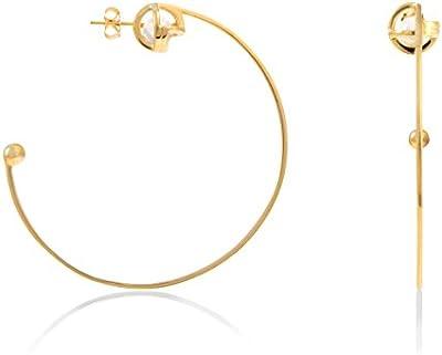Lara Bohinc Pendientes tipo anillo plata chapado en oro 18ct 'Planetaria' para mujeres
