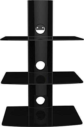 Hifi BluRay / DVD-Player / Receiver / Spielkonsole Wandregal mit Kabelschacht und ESG Sicherheitsglasböden, bis zu 10 kg Tragkraft, schwarz, Anzahl Regalböden:3 Regalböden