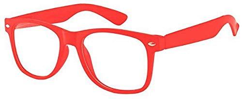 Sonnenbrille Nerdbrille retro Art. 4026 - Boolavard® TM (Rot Klar)