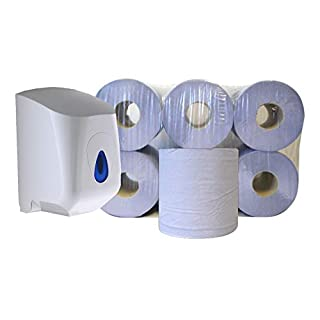 Pack of 6 Centrefeed Blue Paper Rolls & Dispenser Unit