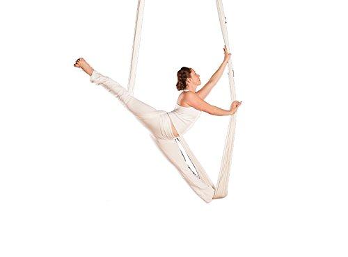 E-Bestar YOGA SWING Volando Hammock elastico Amaca 5 metri lunga X 2.8 metri Larghezza senza giuntura elastico anti Gravità mezz'aria yoga amaca Inversione dell'oscillazione aerea Pilates Yoga Fitness (Bianco)