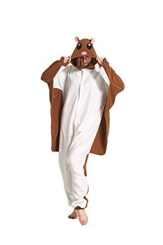 Fandecie Tier Kostüm Tierkostüm Tier Schlafanzug Pyjamas Jumpsuit Kigurumi Damen Herren Erwachsene Cosplay Tier Fasching Karneval Halloween (Braun Gleithörnchen, M:Höhe 160-169cm)
