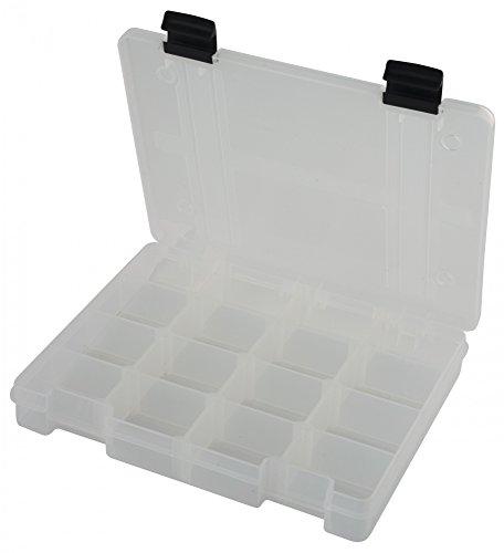 Fox Rage Stack and Store Box 16 comp medium shallow Clear Angelbox, Angelboxen für Kunstköder wie Blinker, Spinner, Wobbler, Gummifische, Jigs, Köderboxen, Angelkasten, Angelkiste
