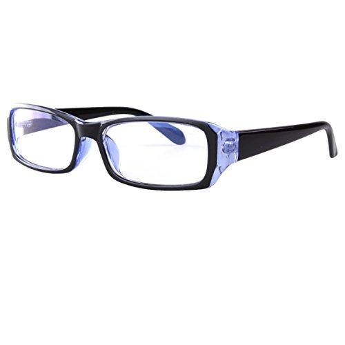 AiSi Unisex Anti Blaues Licht Brille Computerbrille ohne Stärke für Computer/Telefon / Tablets, Vintage Rechteckiger Rahmen, Transparente Gläser Blau