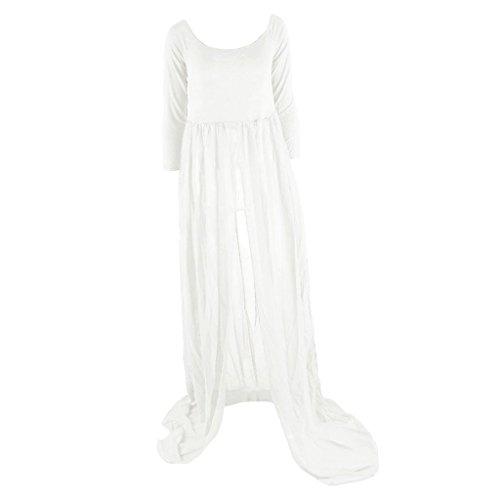 MagiDeal Sexy Maxi Femme Vêtements Grossesse Enceinte Maternité Longue Manche Confortable Robe En Mousseline De Soie Blanc